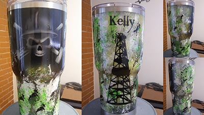 RTIC tumbler oilfield theme Kelly